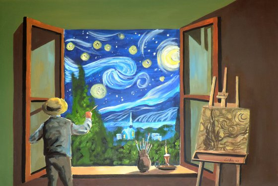 """""""Van Gogh & the Starry Night"""" oil on canvas painting"""