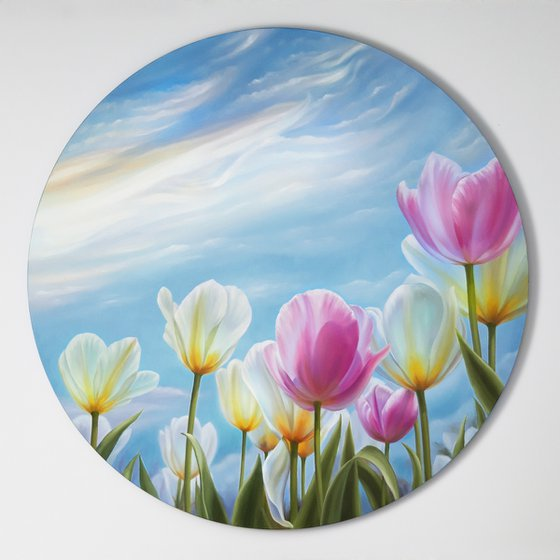 """""""Sunny day"""", oil circle floral painting, tulips floral art"""