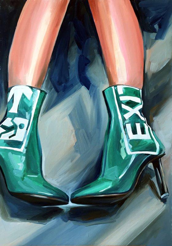 EXIT - oil painting on canvas original gift feminism green boots woman legs nude erotics original gift home decor pop art office interior