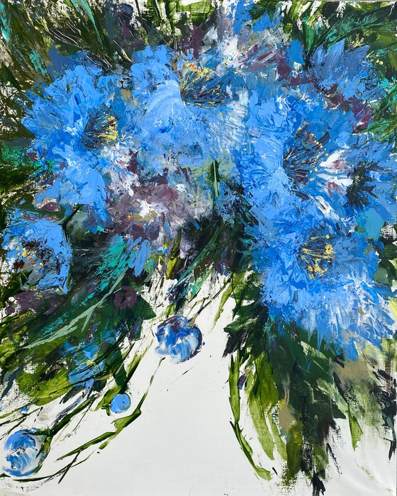 Blue in green original flower painting on canvas