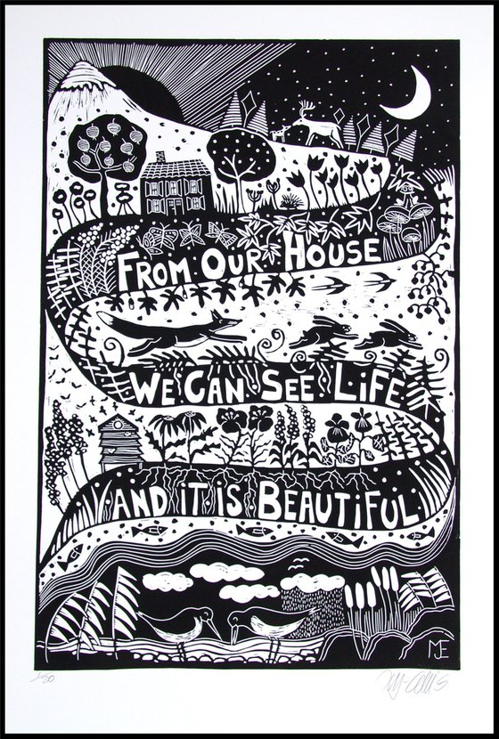 Life is beautiful, XL black and white linocut