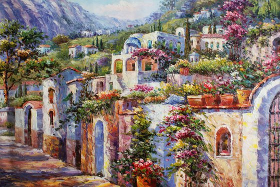 """Street of Santorini 2"" Oil / canvas. Size 60x90 cm."
