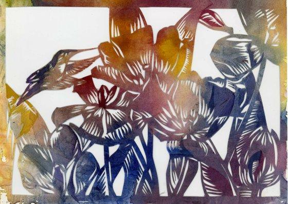 humming bird with tulips watercolor papercut