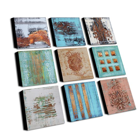 MEMORABILIA - ABSTRACT ACRYLIC PAINTING TEXTURED * PASTEL COLORS * READY TO HANG