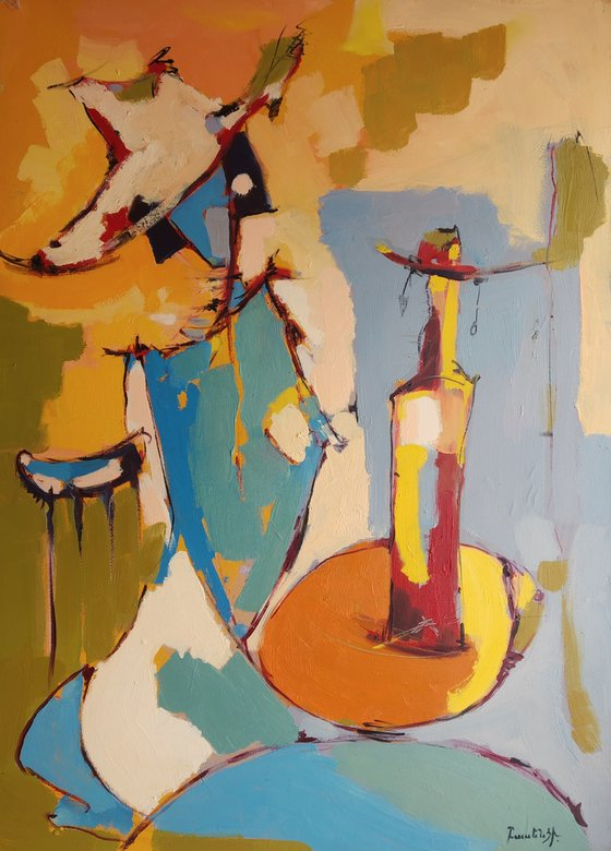 Abstract - Waiting(70x50cm, oil painting, ready to hang)