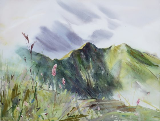 Mountains in spring. 47,5*35,5 cm Watercolor landscape