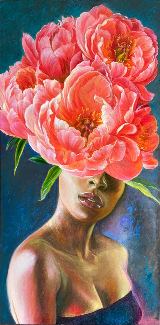 Portrait with red peonies