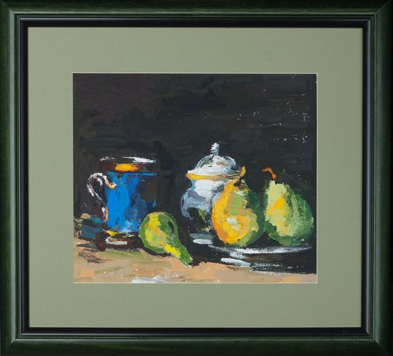 Still life with sugar bowl, pears and a blue cup. Copy after Paul Cezanne.