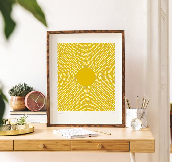 Orbital (Yellow Geometric Linocut Print)