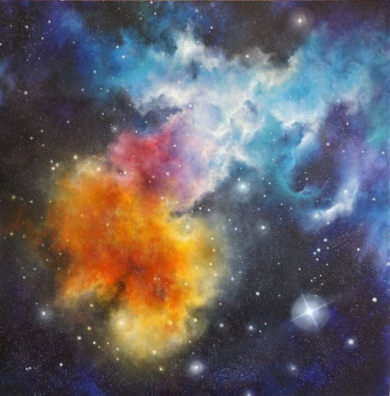 Fire & Ice - Space Painting, Astro Art