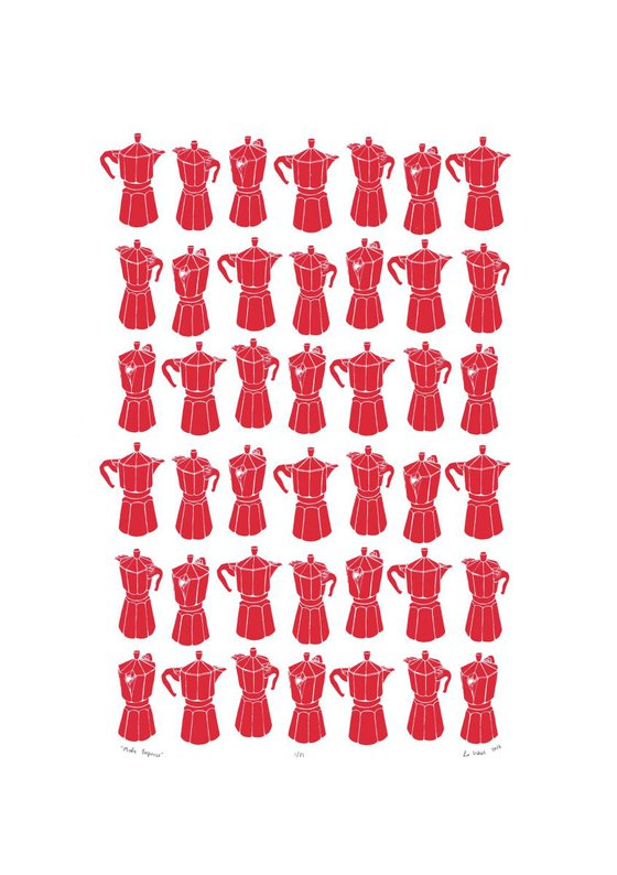 Moka Express  Coffeemaker Print in Firetruck Red A2 Size - Unframed - FREE Worldwide Delivery