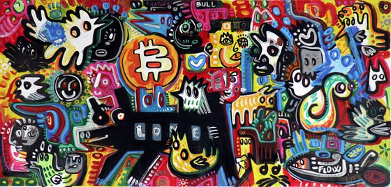 """LOVE NATURE """"and BITCOIN appeared in my painting"""" 100x210cm"""