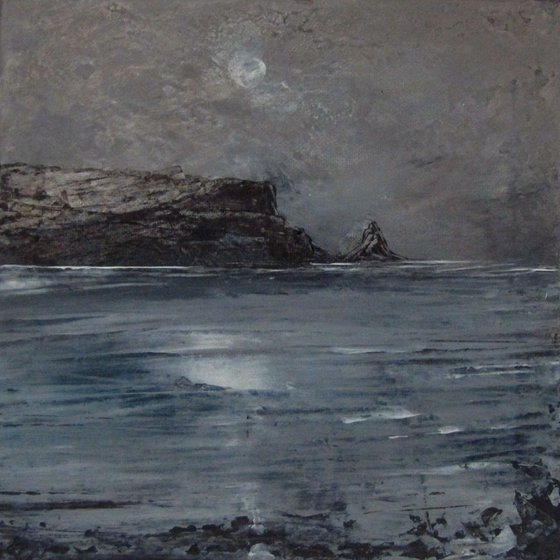 Caithness Full Moon, grey seascape of cliffs and sea