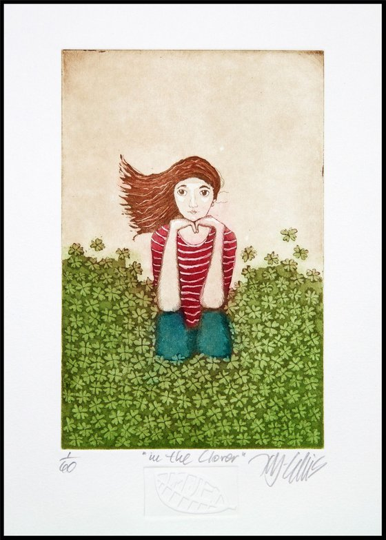 In the Clover, aquatint etching