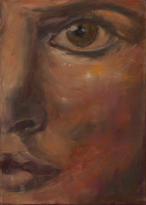 CLARITY - contemporary woman portrait on canvas, impressionism fine art female face original painting