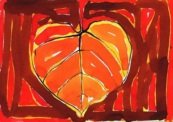 Red Linden Leaf Painting