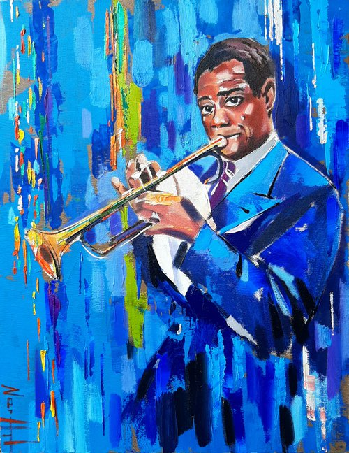 Louis Armstrong (35x45cm, oil/canvas, ready to hang, Modern portraits)