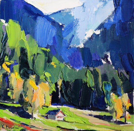 Landscape. Original oil painting. Christmas gift
