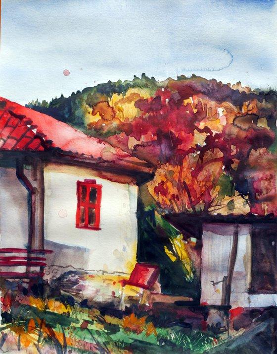Autumn in Vitosha Mountain - Watercolor Painting by Georgi Nikov