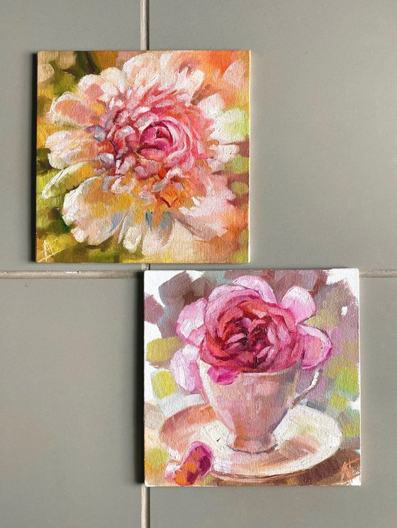 Set of 2 small oil paintings: pink rose in vintage cup and white peony. Gift for her, mother, sister pocket tiny painting