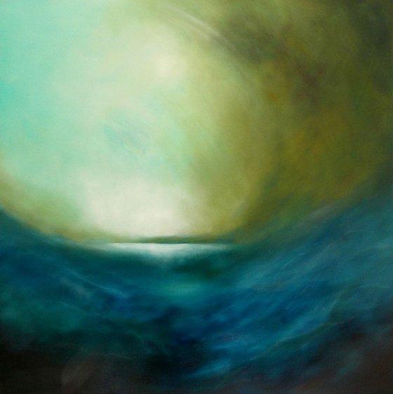 Landfall, Storm Coming On - 90cm x 90cm oil on box canvas