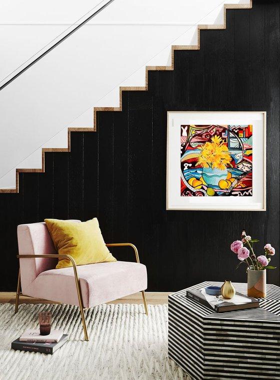 Still life with apples- original acrylic painting- 40 x 40 (16' x 16')