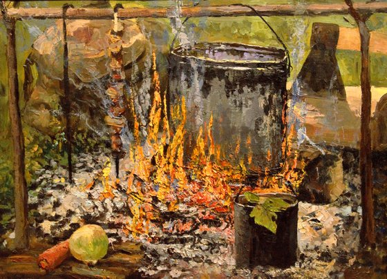 Fire cooking. Still life impressionism oil painting