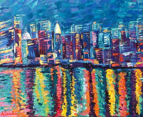 New York City Skyline, Original Palette Knife Cityscape