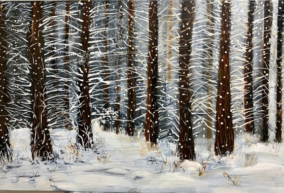 Snowing in the woods