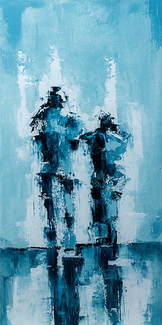Old couple in blue. Abstract art.