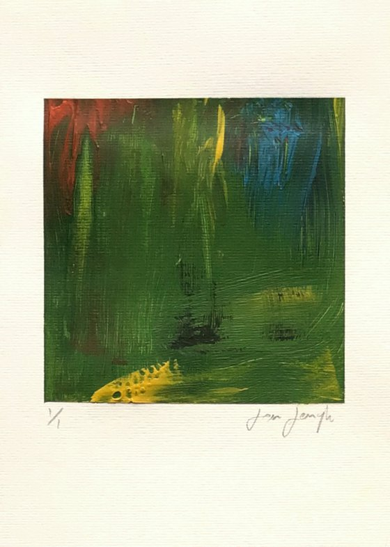 Colour Fuse 4 (Green) - small abstract painting