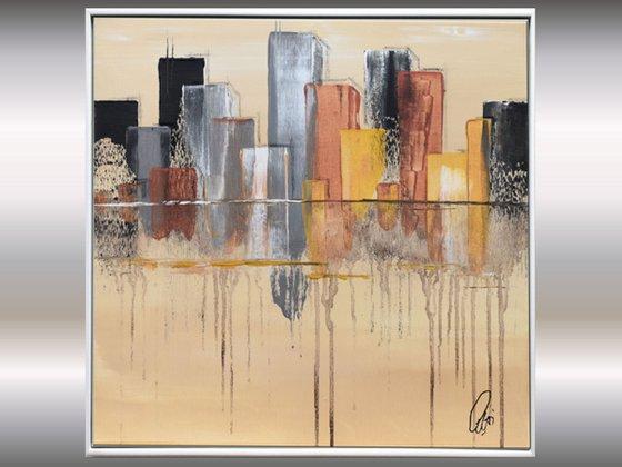 Cityscape - Abstract Art - Acrylic Painting - Canvas Art - Framed Painting - Abstract Painting - Industrial Art