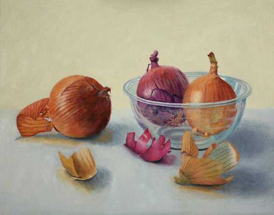 Onions and Glass Bowl