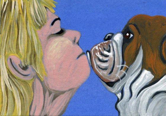 ACEO ATC Original Miniature Painting English Bulldog Pet Dog Human Love Art-Carla Smale