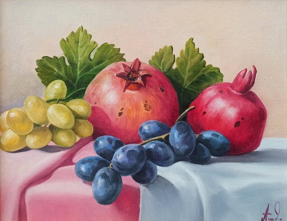 Still life with pomegranates and grapes-3 (24x30cm, oil painting, ready to hang)