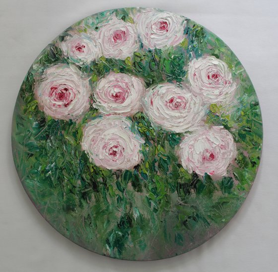 New year, new dreams - Rose bush in a garden -Palette knife- Oil painting - Impressionistic Roses on stretched circular canvas- floral art