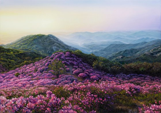"""Where flowers live"", landscape oil floral palette knife painting"