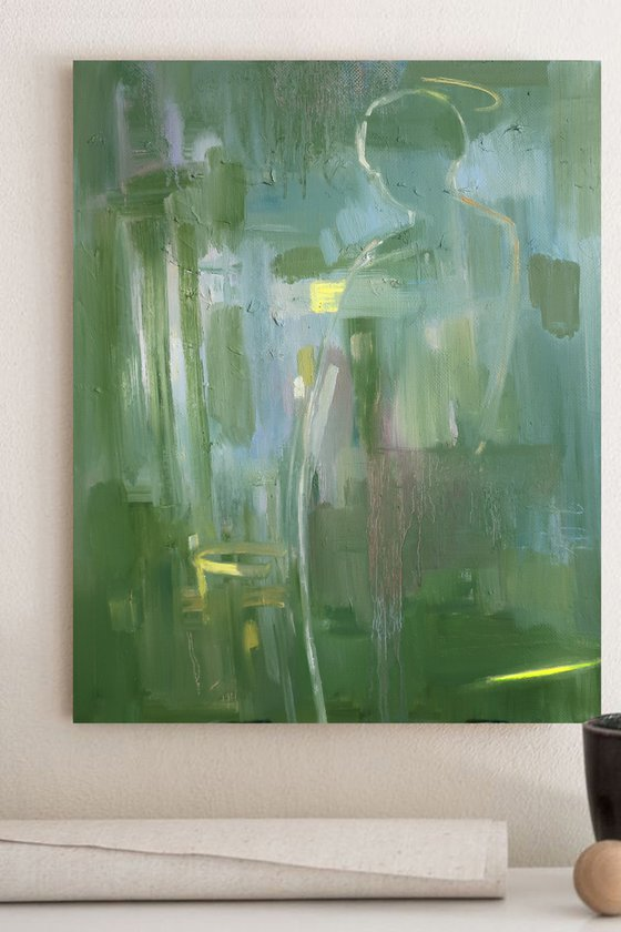 Green Abstraction Observer Meditation Oil Painting