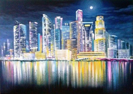 Night City lights. Framed.