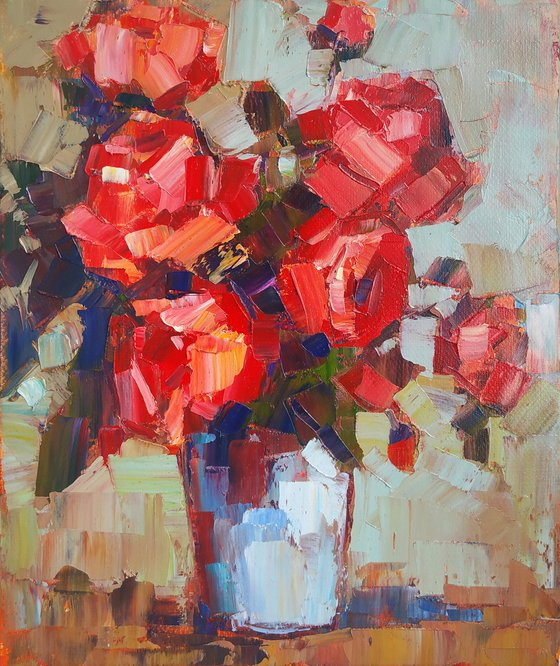 Small pictures series -36- Still life -roses (24x20cm, oil painting, ready to hang)