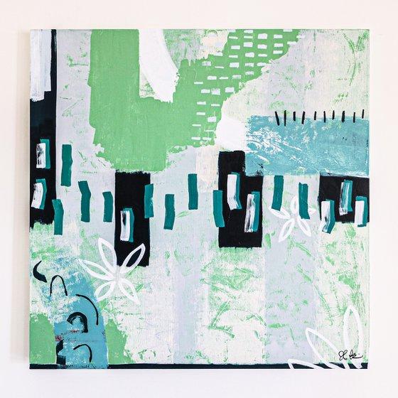 "Abstract Painting - Green sentimental (Original, 40""x40""   101x101 cm)"