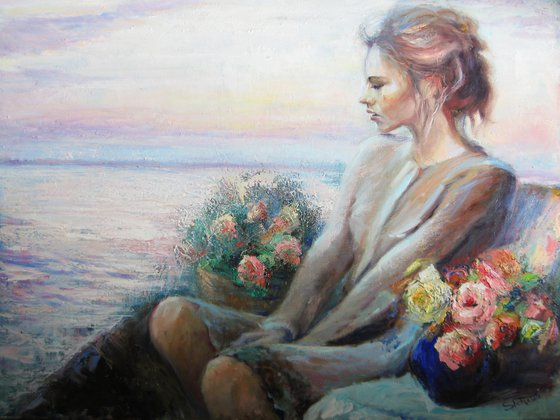 Evening near the sea. Original oil painting