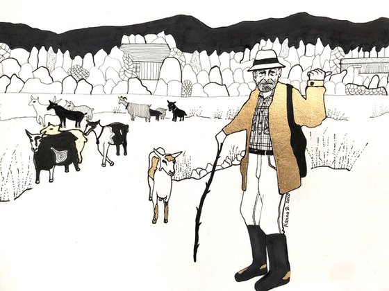 Old man with goats