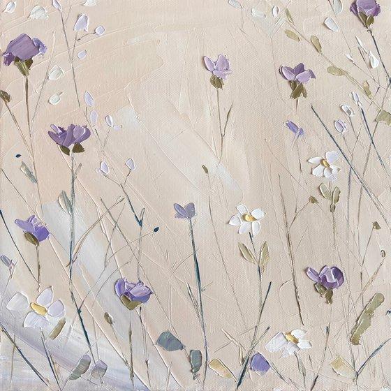 """Oil painting """"Summer field 3»impasto art 27х27cm"""