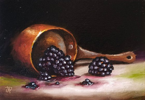 Copper pan with blackberries still Life