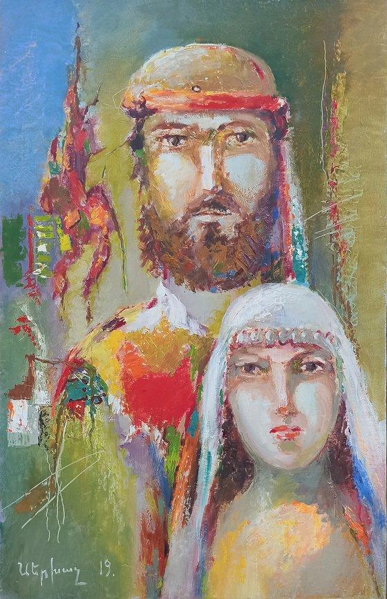 Armenian couple (40x60cm, oil/canvas, ready to hang)