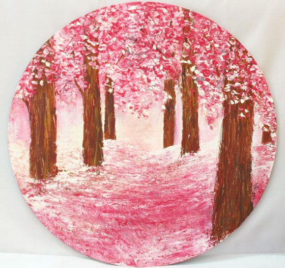 The Pink Paradise - Cherry Blossom Trees , Impressionistic Acrylic Painting