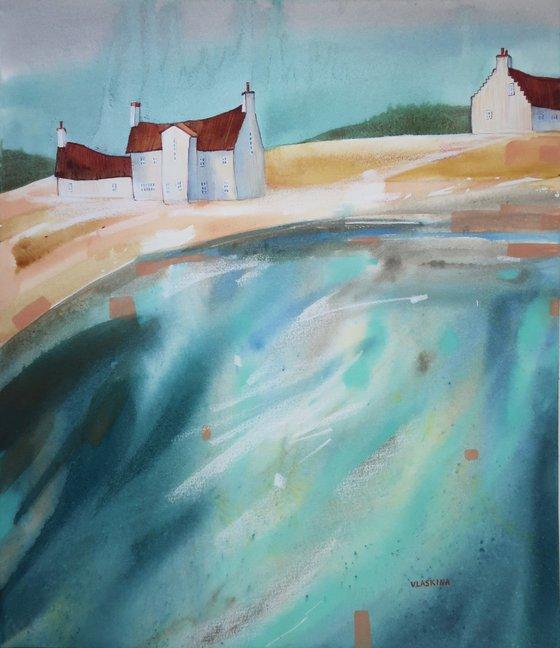 Scottish village - Watercolor landscape