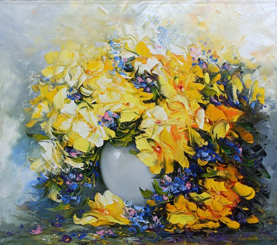 Yellow Wild flowers, 60x70cm, oil painting, palette knife, ready to hang, colorful flowers, floral art
