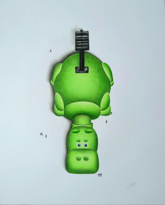 Hippo a pencil drawing (Green)